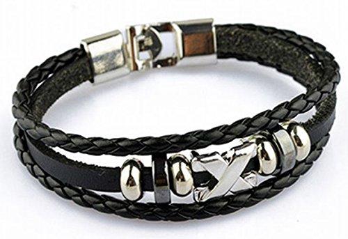 [acce i.d.s] X silver leather bracelets 2 colors (black)