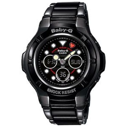 Casio Women's Baby-G BGA124-1A Black Stainless-Steel Quartz Watch with Black Dial