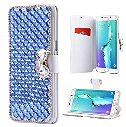 Galaxy Note 7 Wallet Case,Inspirationc® and Made Luxury 3D Bling Crystal Rhinestone Leather Purse Flip Card Pouch Stand Cover Case for Samsung Galaxy Note 7--Blue