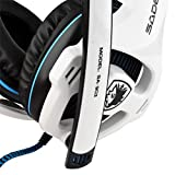 SADES SA-903 Stereo 7.1 Surround Professional USB PC Gaming Headset With Mic & Remoter White + Blue