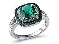 Lab Created Emerald Ring Cushion Shap…