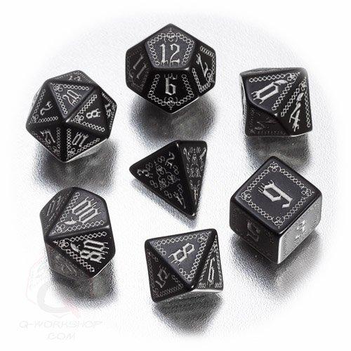 Q-Workshop Polyhedral 7-Die Set: Pathfinder Carrion Crown Dice Set (7) Black & Silver