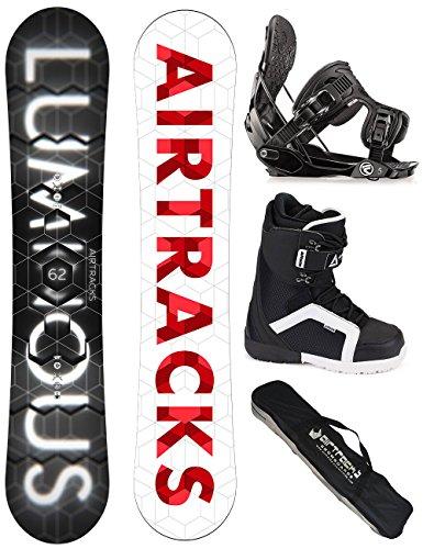 AIRTRACKS SNOWBOARD KOMPLETT SET / LUMINOUS SNOWBOARD WIDE + BINDUNG FLOW FIVE + BOOTS + SB BAG / 152 157 159 162 / cm