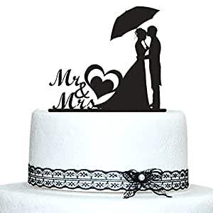 Amazon.com: Buythrow Personalized Silhouette Bride and Groom Wedding ...