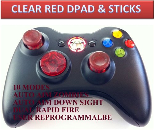 10 Modes! Clear Red D-Pad, Thumb Sticks, Red Led! Black Xbox 360 Modded Rapid Fire Wireless Controller