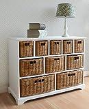 Tetbury Wide Storage Chest with Wicker Baskets