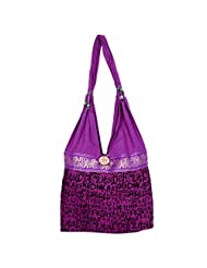 Bagru Crafts Women's Canvas Purple Handbag(Size-32 Cm X 32 Cm X 10 Cm)