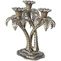 Handicrafts Paradise Tripple Candle Holder In Coconut Tree Shape