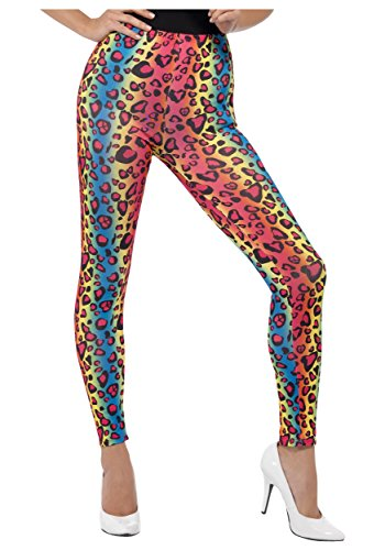 Smiffy'S Women'S Neon Leopard Print Leggings, Multi, One Size