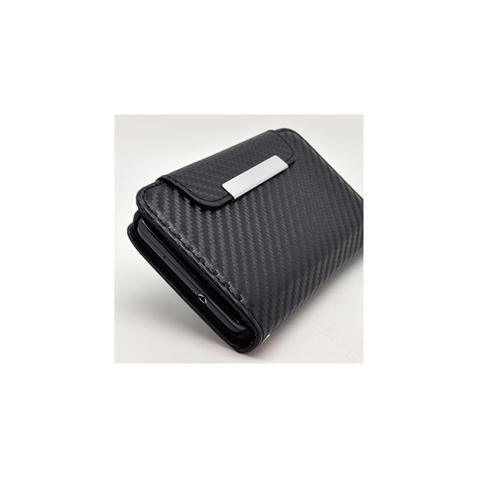 Carbon Wallet Flip Hard Case Cover for Samsung Galaxy S2 D710 + Pen Stylus