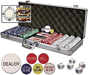 New Premium Set of 500 11.5 Gram Diamond Suited Poker Chips W/6 Dealer Buttons, Cards, & Dice