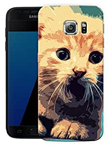 "Cat Poster Art Printed Designer Mobile Back Cover For ""Samsung Galaxy S7 Edge"" (3D, Matte, Premium Quality Snap On Case)"