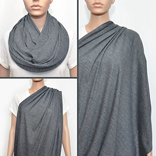 Nursing Cover - Nursing Scarf - Nursing Infinity Scarf - Breastfeeding Cover (Dark Heather Gray) - 1