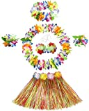6- piece Holiday Christmas Party Costumes Hawaiian Hula Grass Skirt Dance Wears Clothing Set, Multicolor