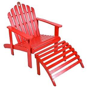 "Red Adirondack Chair W Ottoman 57.5"" x 28.7"" x 35.4"""
