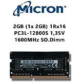 Micron 2GB (1x 2GB) DDR3 1600MHz (PC3L 12800S) SO Dimm Low Voltage Notebook Laptop Arbeitsspeicher RAM Memory