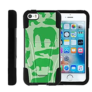 Iphone SE, Apple SE Kickstand Armor Cover STRIKE Impact Built In Kickstand Case with Customized Designs MINITURTLE - Green Animal Silhouettes