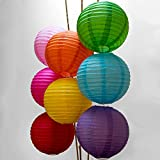 Luna Bazaar Small Rice Paper Lanterns, Chinese Lamp Shades (8-Inch, Multicolor, Set of 8)