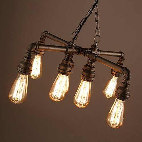 Electro_BP; Vintage Style Metal Art Chandelier Max 480W With 8 Lights Copper Finish