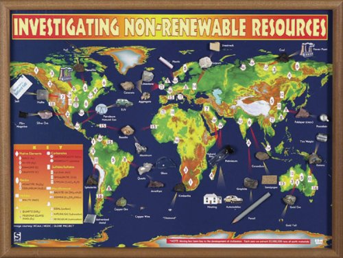 "American Educational Investigating Non Renewable Resources Map, 24"" Length x 18"" Width"