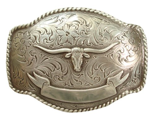 Antique Silver Finish Texas Longhorn Steer with Ribbon Engraved Western Belt Buckle