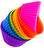 Chelsydale's Silicone Baking Cups - 12 Vibrant Cupcake Liners Bento Lunchbox Accessories