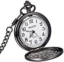 Mudder Reloj de Bolsillo Clásico Liso Antiguo Negro para Hombre de Acero