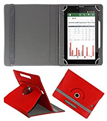 Acm Rotating 360° Leather Flip Case For Iberry Auxus Ax04i Tablet Cover Stand Red