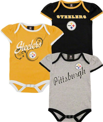 Pittsburgh Steelers Newborn Girls Team Color 3 Piece Foldover Ruffled Sleeve Creeper Set