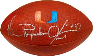 Michael Playmaker Irvin Autographed Miami Hurricanes Football (JSA) by Hollywood+Collectibles