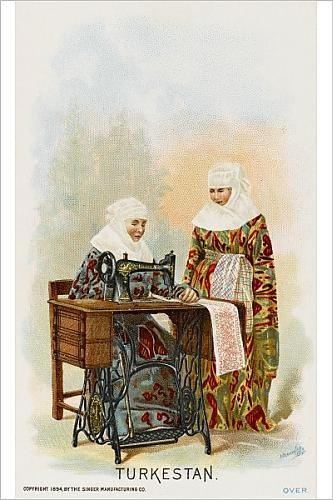 Photographic Print Of Ladies From Turkestan Using A Singer Sewing Machine