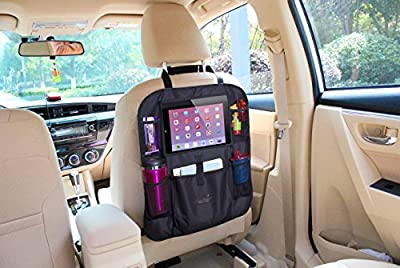 """Mom's Bestyâ""""¢ Luxury Car Back Seat Organizer with Tablet Holder - Touch Screen Pocket for Android & iOS Tablets up to 10.1"""" - Multipurpose Use as Auto Seat Back Protector, Kick Mat and Car Organizer"""