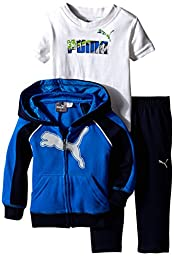 PUMA Baby-Boys Reflective Cat Full Zip Hoodie with Matching Pant and No. 1 Logo Tee, Sky Blue, 24 Months