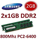Personal Computer - 2GB Dual Channel Kit SAMSUNG Original 2x 1 GB 240 pin DDR2-800 (800Mhz, PC2-6400U, CL6) NON ECC, unbuffered (2x M378T2953QZS-CF7 ) f�r DDR2 Mainboards