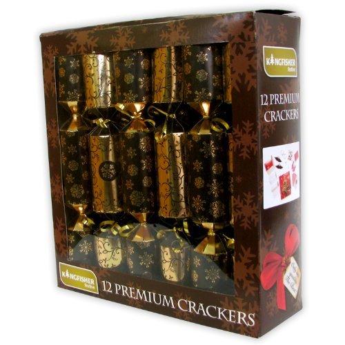 Kingfisher - Set di 12 cracker di Natale, per festeggiare con eleganza il Natale, 35,5 cm di lunghezza. Contiene regali a sorpresa.