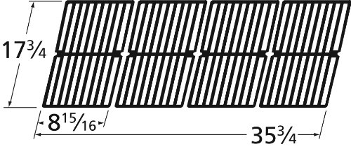 Matte Cast Iron Cooking Grid Replacement for Gas Grill Models Brinkmann 810-3660-S and Smoke Canyon GR2002401-5C-00, Set of 4