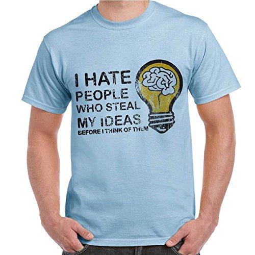 T-Shirt Divertenti Uomo Maglietta Con Stampa I Hate People Who Steal My Ideas, Colore: Celeste, Taglia: XXL