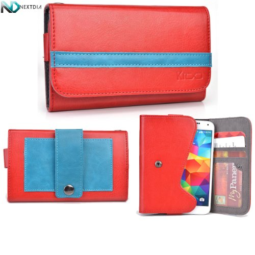 Yezz Andy A5 Phone Wallet With Belt Attachment Ruby Red Electric Blue With Credit Card Holder & Nd Velcro Cable Organizer