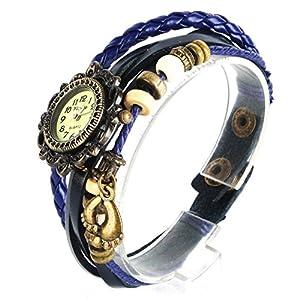 Yesurprise Montre quartz Vintage Avec pendentif Pied Knitted Bracelet en cuir Classique Bronze cadran 6 couleurs -3