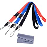 Office Lanyards, Wisdompro 3pcs 23-Inch Premium Polyster Neck Lanyards / Straps with J-Hook & Detachable Buckle For Mobile Cell Phones, Cameras, iPods, USB Flash Drives, Keys, Keychains, ID Name Tag Badge Holders, Video Game And Other Portable Staff - Red / Black / Blue