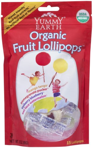 Yummyearth Organic Lollipops, Assorted Flavors (15 Count), 3-ounce Pouches (pack Of 6) Picture