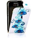 Bleu Housse Etui Coque Cuir Flip Case Fleur Pr Samsung Galaxy Ace GT-S5830 5830i