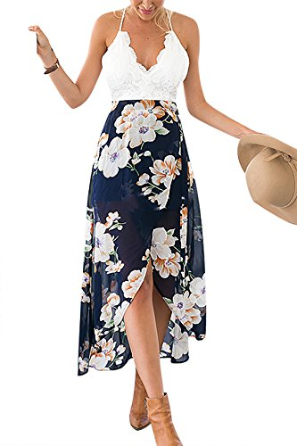 YOINS Women Casual Wrap Front Floral Print Maxi Dress with Lace Details Picture US 4