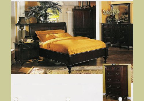 5 PC Cherry Queen Size Bedroom Set Nightstand Bed Room