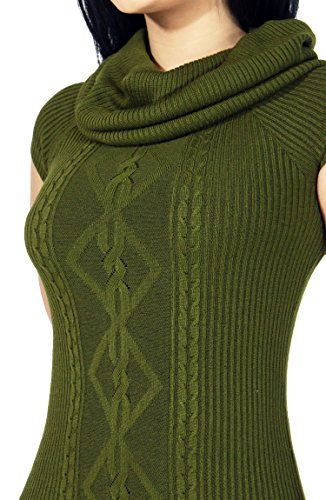 Womens Cozy Knitted Turtleneck Sweater Top (LARGE, OLIVE-5366)