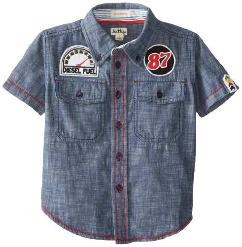 Hatley Little Boys' Button Down Shirt Work Shop Chambray With Ticking Collar, Blue, 8 front-1025555