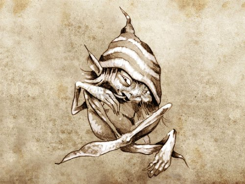 PAINTING DRAWING TATTOO SKETCH GNOME HAT GRUNGE ART PRINT PLAKAT POSTER MP3864B