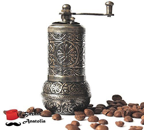 Bazaaranatolia Turkish Grinder, Spice Grinder, Salt Grinder, Pepper Mill 4.2'' (Dark Silver)