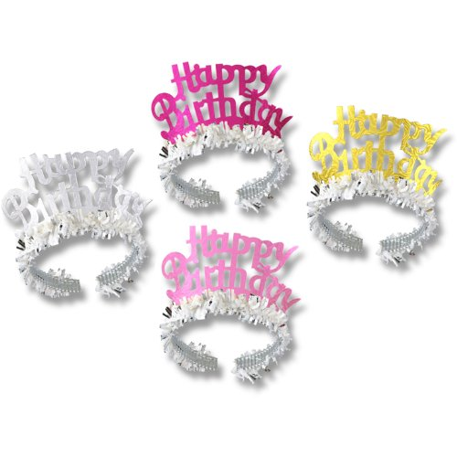 Happy Birthday Tiaras w/Fringe (asstd colors) Party Accessory  (1 count) - 1