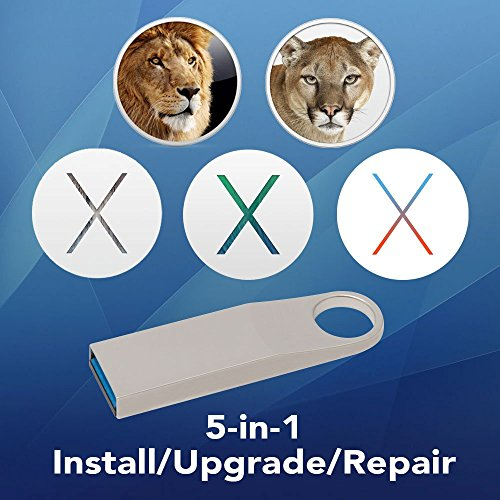 5-in-1 OS X Installer - Lion, Mountain Lion, Mavericks, Yosemite, El Capitan Bootable USB Disk. Instructions included.